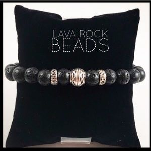 Men or women black lava rock celtic bead bracelet